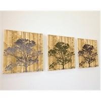 Artred Gallery Simli Ağaçlar Üç Parça 50X155 Tablo