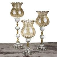 Mukko Home Lale Altın Kristal Şamdan - 3'Lü Set