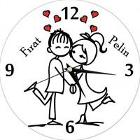 Kişiye Özel Mutlu Çift Saat