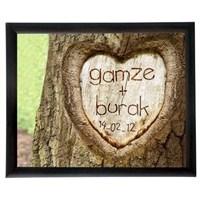 Aşıklara Özel Çerçeve - Aşkınızı Ağaca Kazıyın