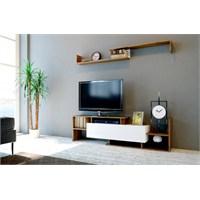 Sanal Mobilya Dream Tv Ünitesi-Beyaz/Ceviz