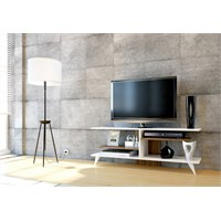 Sanal Mobilya Fever Tv Sehpası-Beyaz/Ceviz
