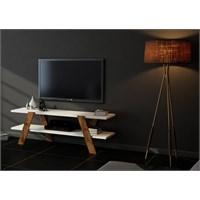 Sanal Mobilya Box Tv Sehpası-Beyaz/Ceviz