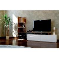 Sanal Mobilya Home Tv Ünitesi-Beyaz/Ceviz