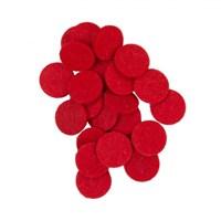 La Mia 25'Li Kırmızı 3 Cm Daire Keçe Motifler - M13
