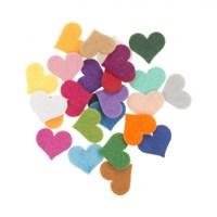 La Mia 25'Li Karışık Renk Orta Boy Kalp Keçe Motifler - Fs308-K