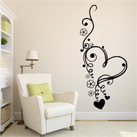 I Love My Wall Floral (F-312)Sticker(Baykuş Sticker Hediye!)