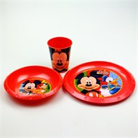 Mickey Plastik 3'Lü Set (Kase,Tabak,Bardak)
