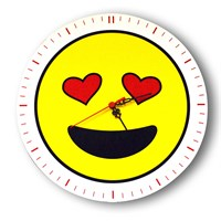 Smiley Concept Gözleri Aşk Emoji Duvar Saati