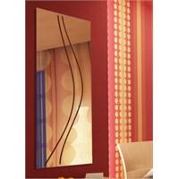 Virgül Desenli Çizgili Dikdörtgen Asimetrik Boy Aynası