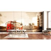 Iwall Resimli Kırmızı Otobüs Duvar Kağıdı 180X130