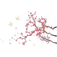 Sticker Masters El Çizimi Ağaç Ve Kuşlar Duvar Sticker