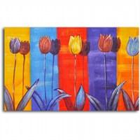 Clock Mango Multi Color Kanvas Tablo 50X35 Cm