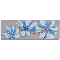 Clock Mango Multi Color Kanvas Tablo 100X40 Cm