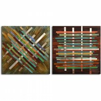 Clock Mango Multi Color Kanvas Tablo 30X30x2prc