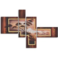 Clock Mango Multi Color Kanvas Tablo 130X65x4prc