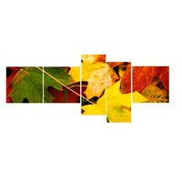 Clock Mango Multi Color Kanvas Tablo110x40x5 Parçalı