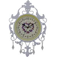 Gold Dekor Ferforje Sarkıt Taşlı Saat Beyaz