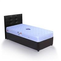 Tek Kişilik Sandıklı Siyah - Venge Deri Baza + Başlık + Yatak Full Set - 90X190 Siyah