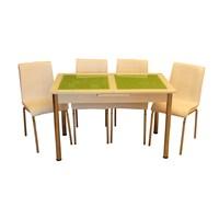 Mrt Mutfak masası takımı cam yeşil baklava masa 4 beyaz deri sandalye