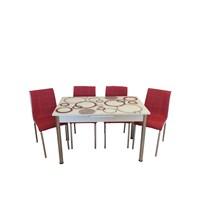 Mrt Mutfak masası takımı cam kırmızı halka masa 4 kırmızı deri sandalye