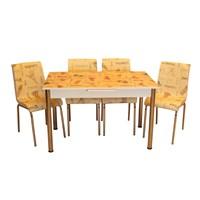 Mrt Mutfak masası takımı cam krem istanbul masa 4 krem istanbul deri sandalye
