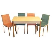 Mrt Mutfak masası takımı cam beyaz masa 3 pembe 3 mavi tay tüyü kumaş sandalye