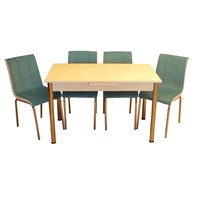 Mrt Mutfak masası takımı cam beyaz masa 4 tay tüyü mavi kumaş sandalye
