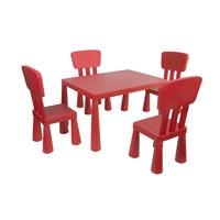 Mini Çocuk Masa-Sandalye Seti - Kırmızı
