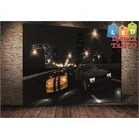 Tablo İstanbul Siyah Sarı Araba Gece Led Işıklı Kanvas Tablo 45 X 65 Cm