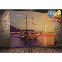 Tablo İstanbul Bodrum Yelken Gemi Led Işıklı Kanvas Tablo 45 X 65 Cm