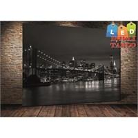 Tablo İstanbul New York Siyah Beyaz Köprü Led Işıklı Kanvas Tablo 45 X 65 Cm