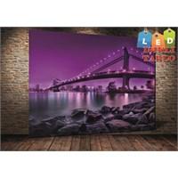 Tablo İstanbul New York Taş Köprü Led Işıklı Kanvas Tablo 45 X 65 Cm