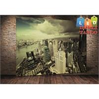 Tablo İstanbul Shanghai Şehir Led Işıklı Kanvas Tablo 45 X 65 Cm