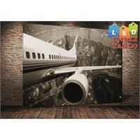 Tablo İstanbul Shanghai Uçak Led Işıklı Kanvas Tablo 45 X 65 Cm