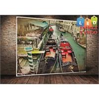 Tablo İstanbul Venedik Gondol Led Işıklı Kanvas Tablo 45 X 65 Cm