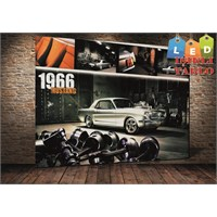 Tablo İstanbul Mustang 1966 Led Işıklı Kanvas Tablo 45 X 65 Cm