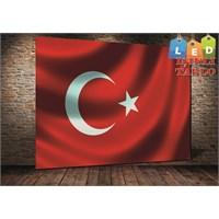 Tablo İstanbul Türk Bayrağı Led Işıklı Kanvas Tablo 60 X 90 Cm