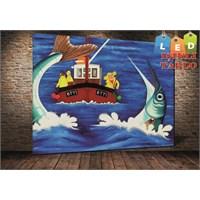 Tablo İstanbul Balıkçılar Ve Tekne Led Işıklı Kanvas Tablo 45 X 65 Cm
