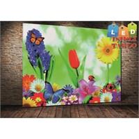 Tablo İstanbul Çoklu Çiçek Led Işıklı Kanvas Tablo 45 X 65 Cm