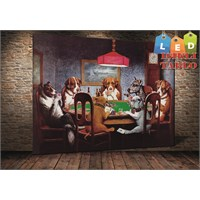 Tablo İstanbul Köpekler Poker Led Işıklı Kanvas Tablo 45 X 65 Cm