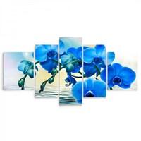 Artredgallery 5 Parçalı Çiçek Kanvas Tablo 125X56