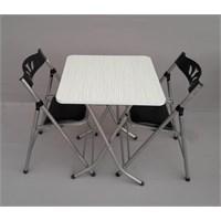Vural Katlanabilir Mutfak Balkon Masa Sandalye Takımı Masa + 2 Sandalye