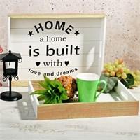 İhouse Dekoratif 2 Li Ahşap Tepsi Yazılı Home Temalı Büyük 40X30x5cm Küçük 35X25x4cm