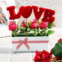 İhouse Aşk Temalı Dekoratif Hediyelik Yapay Çiçek 17X22x8cm