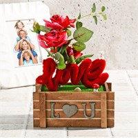 İhouse Aşk Temalı Dekoratif Hediyelik Yapay Çiçek 19X10x26cm