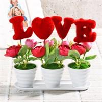 İhouse Aşk Temalı Dekoratif Hediyelik Yapay Çiçek 20X6x22cm