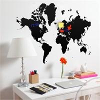 Dekorjinal Dünya Haritası Yazılabilir Yaz Sil Sticker Ys80