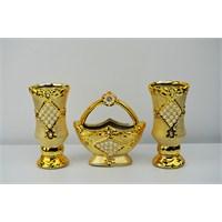 Cosiness Altın Yaldız Üçlü Vazo Seti