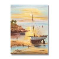 Ritmo-Günbatımında Yelkenlı Kanvas Tablo